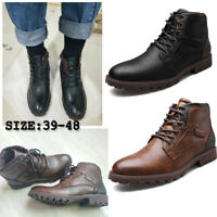 US 14 Mens Ankle Boots Classic Genuine Leather Black Riding Boots Combat Shoes