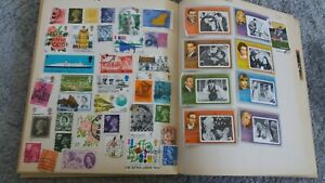 STAMP COLLECTION IN OLD EXERCISE BOOK