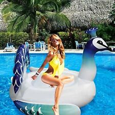 Inflatable Large Ride On Peacock Lounger Swimming Pool Beach Float Toy Raft Lilo