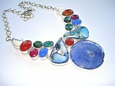 AB Blue Solar Quartz Green Emerald Ruby Carnelian Chalcedony Necklace Silver 21""