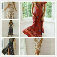 Boho dresses for women Sundress UK Ladies V-Neck Beach Maxi Dress Holiday Floral