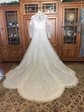 VINTAGE LACE TULLE SEQUIN PEARL WHITE WEDDING DRESS 50s 60s