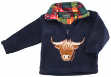 Highland Cow Navy Sweater for Boys & Girls Warm Fleece Outer 2 - 10 Years