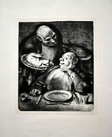 A. Paul Weber: Auge in Auge. [1962]. Signierte Original-Lithografie.