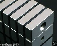 50pcs Super Strong Block Magnets 20 x 10 x 5mm Hole 4mm Rare Earth Neodymium N50
