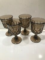 4 NORITAKE ''PERSPECTIVE'' BROWN WINE GOBLETS 4 3/4''