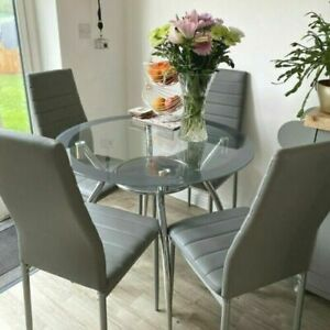 Elegant Grey Glass Dining Table & 4 Chairs Set Kitchen Round Space Saving 5pcs