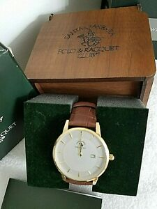 Santa Barbara Polo & Racquet Club Men Watch w. Gold Tone & Brown Leather Strap