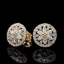 2.00CT Marquise & Round Created Diamond Earrings 14k Yellow Gold Snowflake Studs