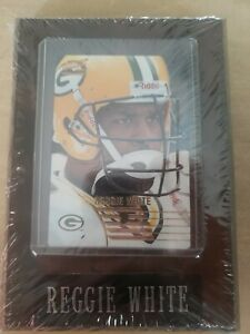 REGGIE WHITE Green Bay Packers Plaque w Football Card NEW- Action Packed 1995