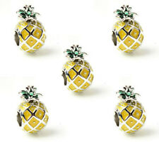 5Pcs Fashion Yellow Pineapples Charm Silver bead For Bracelet/Necklace