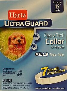 "HARTZ ULTRAGUARD FLEA & TICK COLLAR FOR PUPPIES FITS NECKS TO 15"" 7 Month Protec"