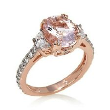 Jean Dousset Blush Morganite and Absolute Rose Gold Vermeil Ring; 3.04cttw Sz 8