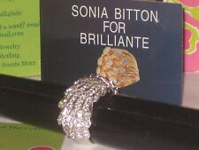"Sonia Bitton Sterling Platinum Embraced ""Famous Feather"" Ring w/ Brillante  NEW"