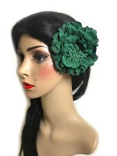 Emerald Green Peony Flower Hair Clip Brooch Pin Rose Corsage Rockabilly 1950s