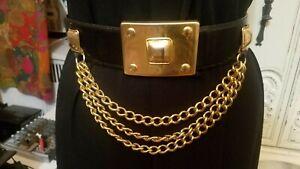 "Vintage Avignon Black Leather Gold Multi Chain Wide Belt M L 29 1/2""-35 1/2"""