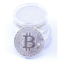 Bitcoin Coin Collectors Item BTC Round Physical Silver Plated Gift Currency