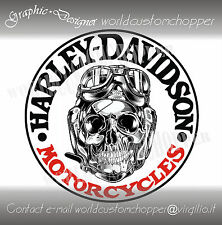 ADESIVO STICKERS DECALCOMANIA SKULL HARLEY DAVIDSON MOTO CUSTOM