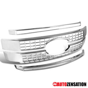 For 17-19 Ford F250 F350 F450 F550 SuperDuty Chrome Front Hood Grille Cover 4PC