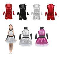 Kids Girls Boy Dance Ballet Costume Sequin Jazz Modern Dress Ballroom Dancewear