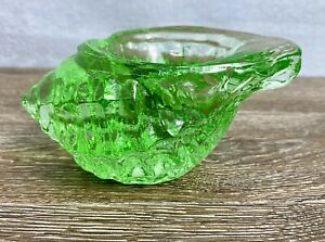 Fire and Light Glass Conch Sea Shell Tea Light Green Seashell Recycled Signed