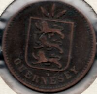 1902 H - Guernsey - Channel Islands - 4 Doubles Coin - Superfleas -