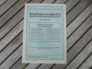 Kraftfahrzeugbrief KFZ Brief DDR Skoda S 100