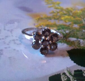 Mesmerizing 2.85ctw Genuine Smoky Topaz Stamped 925 Sterling Silver Ring. Size 7