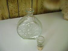 "vintage glass cork wine decanter R-575 on bottom, 71/4"" T x 6 1/4"" L x 2 3/4"" W"