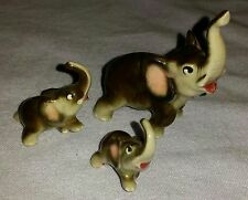 3 VINTAGE MINIATURE ELEPHANT FIGURINES MOM AND 2 BABIES