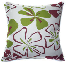 AF58a Burgundy Lime Flower Cotton Canvas Cushion Cover/Pillow Case *Custom Size*