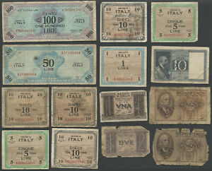 Lot of 14 ITALY & WWII ALLIED MILITARY CURRENCY Banknotes Bills Circulated
