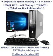 "Windows 10 Cheap Fast HP Core 2 Duo Full System 17"" Monitor Desktop Computer PC"