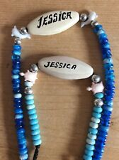 Jessica Name tag Blue Beaded Dolphin Necklace & Turtle Bracelet