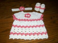 Handmade Crocheted Baby Girl Dress Set. White, Strawberry. Fits approx. 0-3 mo.