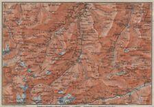 LUGNETZTAL SURSELVA. Valserrhein Furketlihorn Hinterrhein Splügen 1909 old map