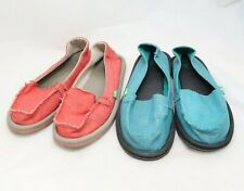 Lot Of 2 Sanuk Women's Size 7 Canvas Sidewalk Surfer Slip On Flats Loafers Shoes