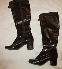 vintage 60's go go mod Twiggy brown marbled patent leather frog fastener boots 6