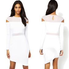 FUTURISTIC Asymmetrical BOUCLE Texture MESH Cutout DRESS Long SLEEVE White 6-8