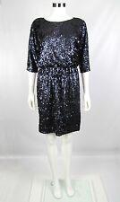 Eliza J Women Petites Black Blue Sequins 3/4 Sleeve Blouson Cocktail Dress Sz 8P