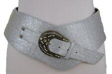 New Women Silver Wide Western Wet Look Faux Leather Cowgirls Fashion Belt S M