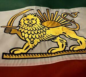 Iranian Shir-o-khorshid Flag 3x5 outdoors appliq (embroidered) Lion 2-sided