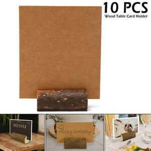 10Pcs Wood+ 10pcs Paper card Rustic Wedding Name Place Card Stand Table Hold FD