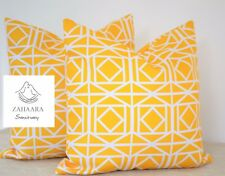 2 X Yellow Waterproof Outdoor Cushion Cover Geometric Patio Throw Pillow Set