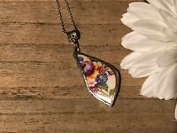 Recycled Broken Porcelain Jewelry, Multi Floral Pendant