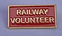 """New Metal Enamel Pin On Badge """"Railway Volunteer"""" Heritage Railways"""