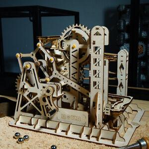 ROKR 3D Wooden Puzzle Marble Run Game Model Kits DIY Lift Coaster Laser-Cut Toys