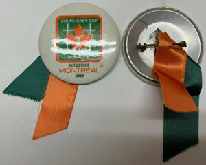 1969 GREY CUP BUTTONS-MONTREAL AUTOSTAD-MINT X 2