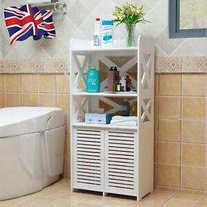 White Wooden Shelf Cabinet Cupboard Bedroom Bathroom Unit Free Standing Storage