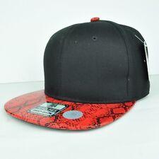 Headlines Two Tones Black Faux Red Snake Skin Adjustable Snapback Hat Cap Flat